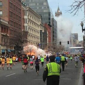"Dan Lampariello tweeted ""Explosion at coply pic.twitter.com/EqKbGeWhha"" at approximately 2:51 p.m. April 15, 2013. During the Boston Marathon. (Dan La..."