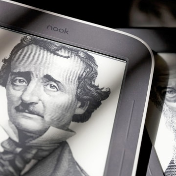 Portraits of Edgar Allan Poe and Walt Whitman are shown on the home screens of Nook readers from Barnes & Noble, which use technology developed by E I...