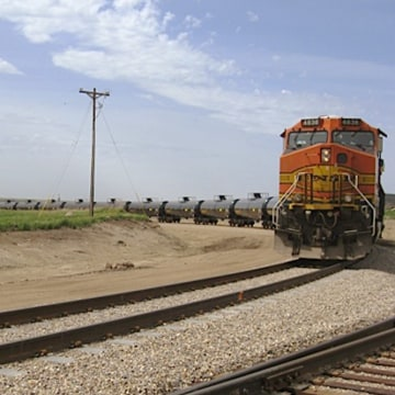 A train leaves Rangeland Energy's crude oil loading terminal in June 2012 near Epping, N.D. Sapped inventories of crude oil in the U.S. may be partly ...