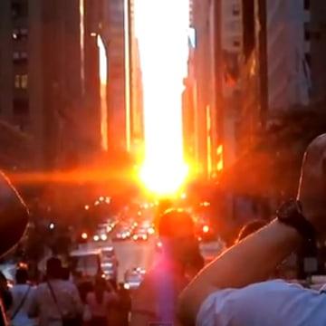 """YouTube screenshot of """"Manhattanhenge"""" sunset effect"""