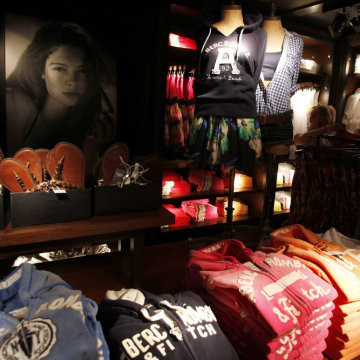 Clothes are seen on display at an Abercrombie & Fitch store in New York, in this June 16, 2010 file photo.