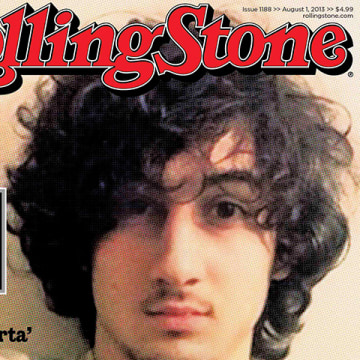"Accused Boston bomber Dzhokhar Tsarnaev is seen on the cover of the August 1 issue of ""Rolling Stone"" magazine in this handout image received by Reute..."