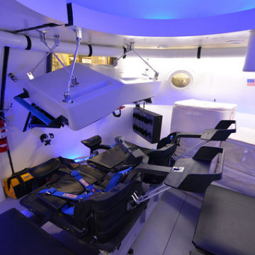 The view inside Boeing's mockup of its CST-100 commercial capsule designed to take astronauts to low Earth orbit.
