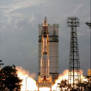An Indian Geostationary Satellite Launch Vehicle (GSLV) lifting off.