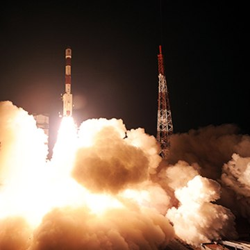 The Indian Space Research Organisation's first navigation satellite IRNSS-1A launches toward space atop a Polar Satellite Launch Vehicle from Satish Dhawan Space Centre in southeastern India, on July 1,2013.