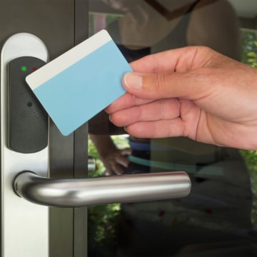 electronic key card swipe door