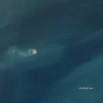 A mud volcano in the Arabian Sea near the Makran subduction zone.