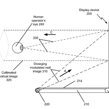 Microsoft's drawing from its patent of a laptop with transparent display technology.