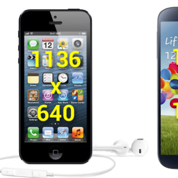 HD screens compared, iPhone 5 and Galaxy S 4