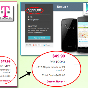 Comparing what customers pay for phones on different carriers.