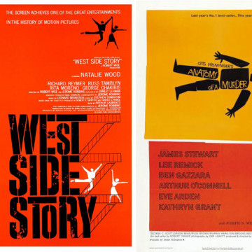 "Saul Bass promotional posters for ""West Side Story"" and ""Anatomy of a Murder"""