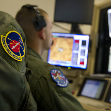 pilot trainee flies an MQ-1 Predator simulator mission at Holloman Air Force Base in New Mexico