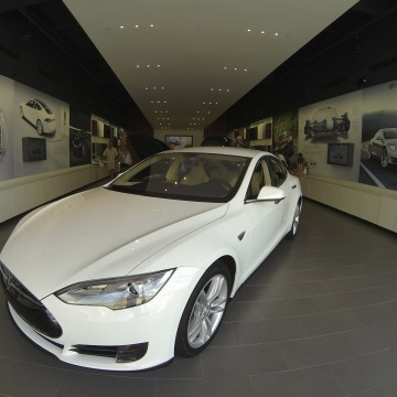 A Tesla Model S electric car is on display at a Tesla store in a shopping mall in La Jolla, Calif., on Sept. 6.