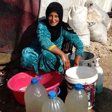 At a Syrian refugee camp in Lebanon, safe drinking water is a major concern.