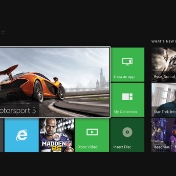 Xbox One home screen.