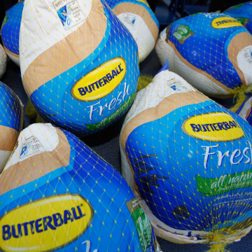 "Frozen Butterball Turkeys are shown before being distributed to needy families by boxing promoter Don King  during a stop on his ""Turkey Tour,"" Thursd..."