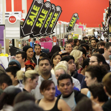"A crowd of shoppers browse at Target on the Thanksgiving Day holiday in Burbank, California November 22, 2012. The shopping frenzy known as ""Black Fri..."