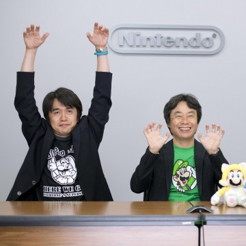 """Super Mario 3D World"" producer Yoshiaki Koizumi (left), director Kenta Motokura (right), and Mario creator Shigeru Miyamoto mimicked some of their favorite cat-based actions in the new game during a video conference with the press last month."