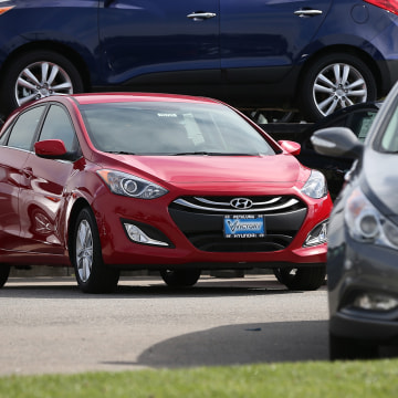 PETALUMA, CA - APRIL 03:  A brand new Hyundai Elantra is displayed on the sales lot at Petaluma Hyundai on April 3, 2013 in Petaluma, California.  Hyu...