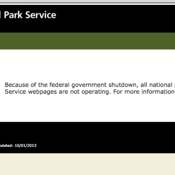The National Park Service's website on Tuesday, Oct. 1, 2013.