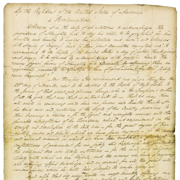 This photo provided by Christie's shows George Washington's Thanksgiving Proclamation, with a pre-auction estimated value of $8-12 million. The 1789 p...