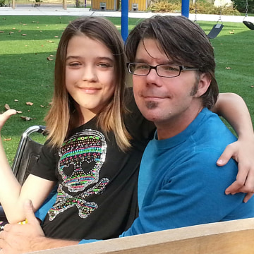 Justin Smith and his daughter McKenna, 12, at the Children's Inn on the campus of the National Institutes of Health. They are furious that the gover...