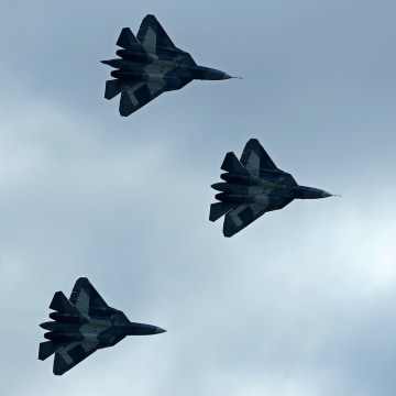 Russian Sukhoi T-50 stealth fighters perform during August's MAKS-2013 air show in Zhukovsky, outside Moscow, on August 27, 2013. Sukhoi says it's wor...
