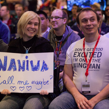 "Fans showing their support for Naniwa, a Swedish ""StarCraft II"" player who made it to the final round of the Intel Extreme Masters competition at New York Comic-Con before losing to Korean player Life."