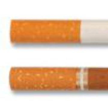 An illustration shows a regular cigarette next to a little cigar.