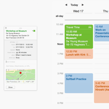 Maps is integrated into Calendar in Mavericks
