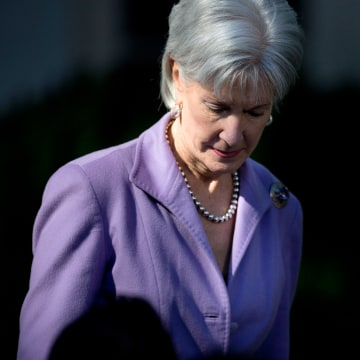Health and Human Services Secretary Kathleen Sebelius arrives in the Rose Garden of the White House in Washington, Monday, Oct. 21, 2013, for and even...