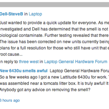 "According to Dell support technician SteveB, the laptop's unpleasant odor was not a result of any ""biological contamination."""