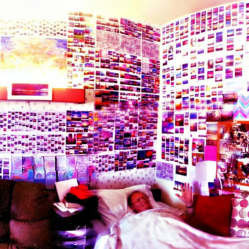 """Image: Brian Curtis in his """"sky blue pink"""" room at his nursing facility."""