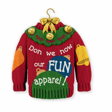"Hallmark has been defending itself this week after it began selling this ""ugly holiday sweater"" ornament emblazoned with the phrase: ""Don we now our FUN apparel!"""