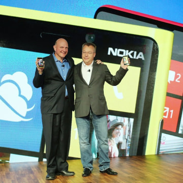 A tale of two Steves. Will the one on the right take over at Microsoft from the one on the left? Nokia Chief Executive Stephen Elop (R) stands with St...