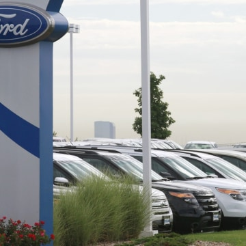 Cars lined up for sale at a Ford dealer in Lakewood, Colo. U.S. auto sales were on a pace to show a gain as high as 17 percent in August as the indust...