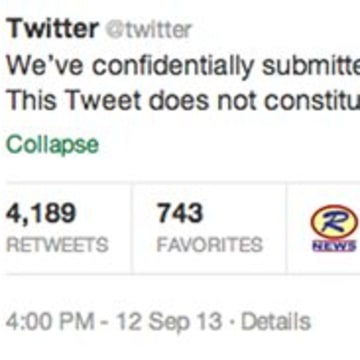 "This screenshot taken from Twitter shows the company's posting on its official account Thursday, Sept. 12, 2013, that it has ""confidentially submitted..."