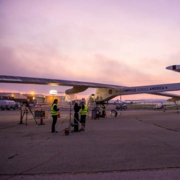 The Solar Impulse plane is shown on the runway shortly before taking off from Cincinnati, Ohio on June 14, 2013.