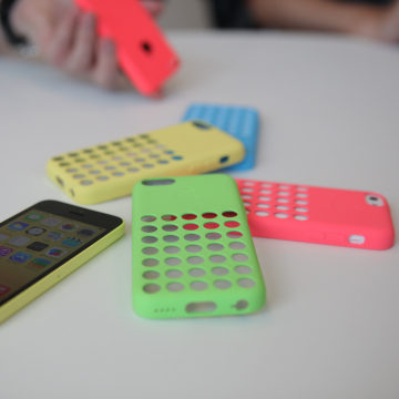 The plastic iPhone 5C with its assorted case options, on display in Cupertino, Calif. on Sept. 10.