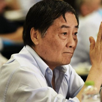 This picture taken on June 8, 2013 shows multi-billionaire Zong Qinghou, China's second richest man gesturing during a conference held in Hangzhou, ea...