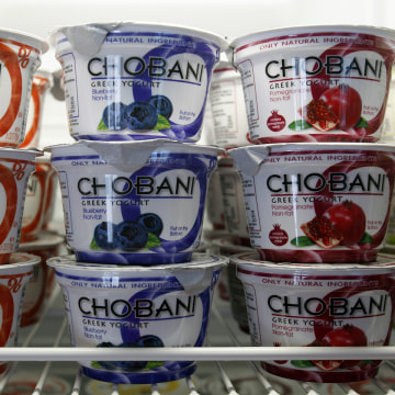 FILE - In this Jan. 13, 2012 photo, Chobani Greek Yogurt is seen at the Chobani plant in South Edmeston, N.Y. The recent yogurt boom of upstate New Yo...