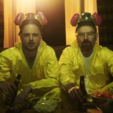 """Aaron Paul (left) and Bryan Cranston in the binge-worthy """"Breaking Bad."""""""
