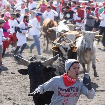 This photo of Christian Plaing taken by the Houston Press during The Great Bull Run near Houston on Jan. 25 went viral.