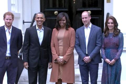 William, Kate and Harry Greet Obamas at Kensington Palace