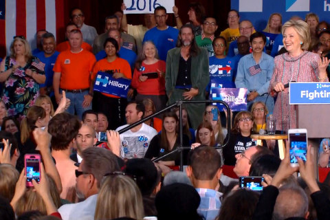 Clinton to Shirtless Supporters: Please Don't Take Anything Else Off