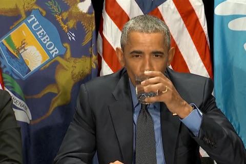 Watch Obama Drink Flint Tap Water
