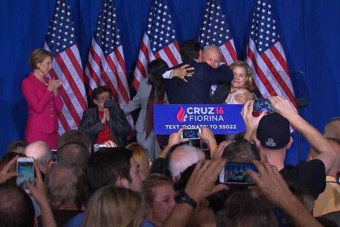 Cruz Accidentally Elbows Wife After Dropping Out