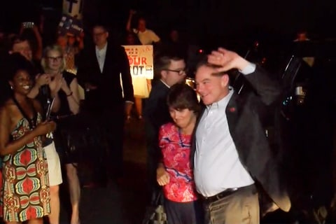 Hundreds Welcome Tim Kaine Home in Richmond