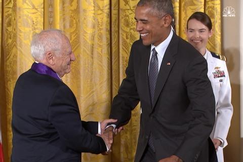 Mel Brooks Jokes Around at White House Medal Ceremony