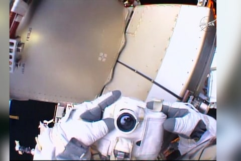 NASA Astronauts Take Spacewalk to Install HD camera